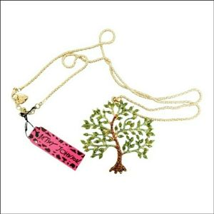 Betsey Johnson green brown jeweled tree necklace